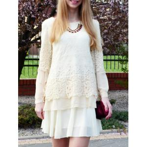Long Sleeve Lace Embellished Solid Color Skirt Hem Women's T-shirt - Off-white - Xl
