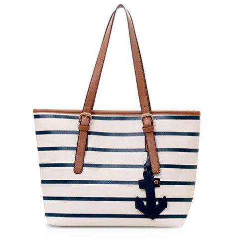 Chic Casual Stripe and Pendant Design Women's Shoulder Bag
