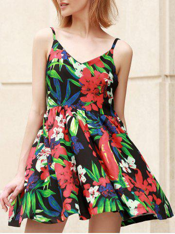 Spaghetti Strap High Waist Floral Print Dress