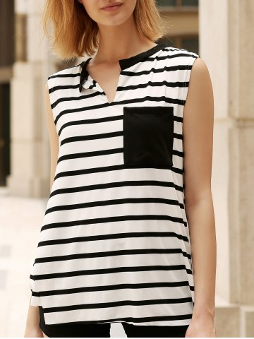Fashion Pocket Striped Asymmetric Tank Top