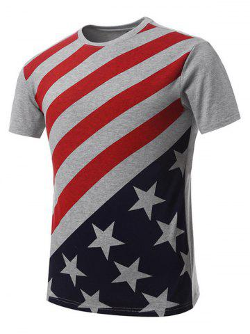 Discount Vogue Round Neck American Flag Print Short Sleeves T-Shirt For Men