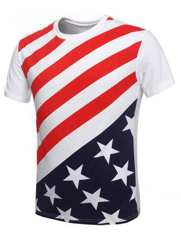 Fashion Vogue Round Neck American Flag Print Short Sleeves T-Shirt For Men