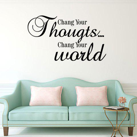 Change Your World Letters Pattern Quote Wall Stickers For Bedrooms - BLACK