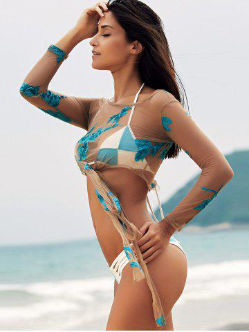 Trendy Scoop Neck See-Through Embroidered Sheer Swimsuit Cover-Up - M LAKE BLUE Mobile
