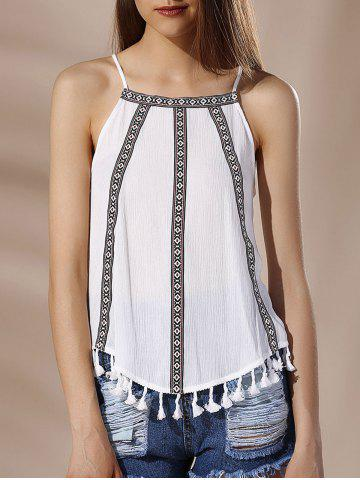 Unique Chic Spaghetti Strap Tribal Print Fringed Women's Tank Top