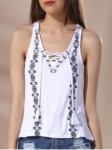 Outfits Chic V Neck Lace-Up Racerback Embroidered Women's Tank Top WHITE S