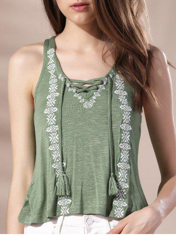 Chic V Neck Lace-Up Racerback Embroidered Women's Tank Top