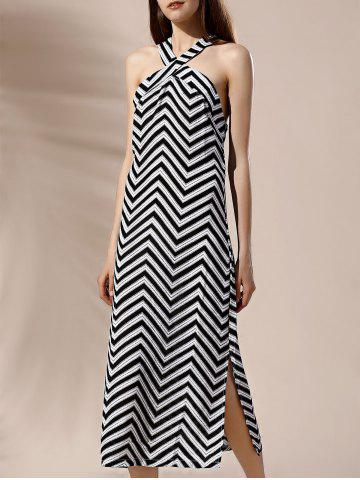 Halter Side Slit Chevron Print Shift Backless Dress