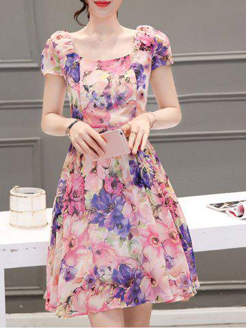Hot Sweet Square Neck Floral Print Cap Sleeve Women's Dress