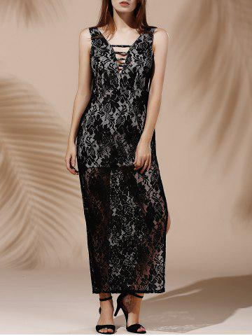 Sale Slit See Thru Long Lace Evening Dress