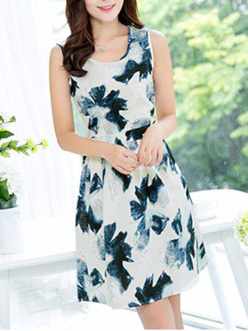 Discount Sweet Sleeveless Scoop Neck Oil Painting Print Women's Dress