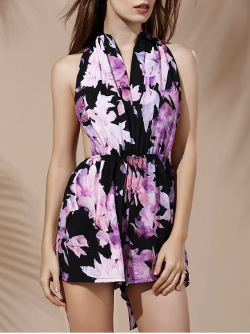 Shop Fashionable Plunging Neck Sleeveless Floral Print Backless Romper For Women