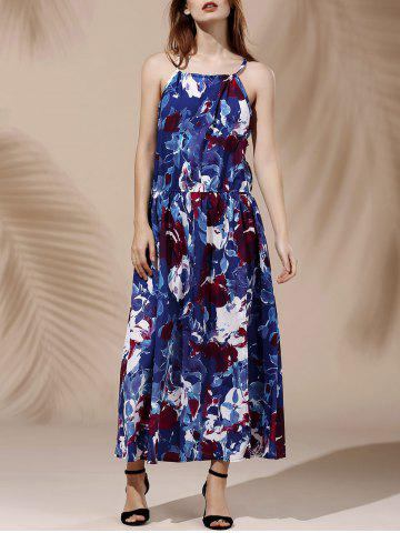 Discount Charming Halterneck Sleeveless High-Slit Floral Print Dress For Women