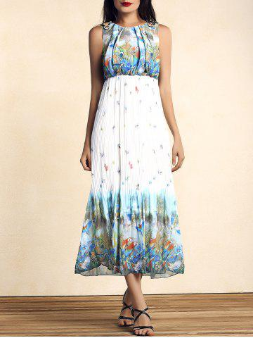 Affordable Bohemian Scoop Neck Sleeveless Bird Print Pleated Women's Dress