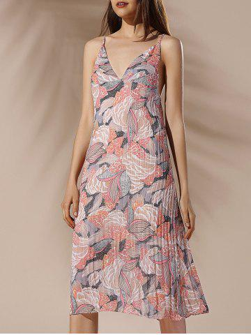 Affordable Spaghetti Strap Floral Pleated Summer Dress COLORMIX S