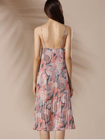 Sale Spaghetti Strap Floral Pleated Summer Dress - M COLORMIX Mobile