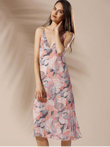 Fashion Spaghetti Strap Floral Pleated Summer Dress - M COLORMIX Mobile