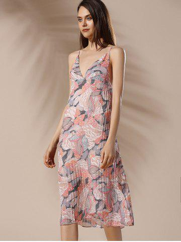 Shops Spaghetti Strap Floral Pleated Summer Dress - M COLORMIX Mobile
