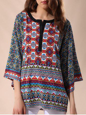 Online Casual Round Neck 3/4 Sleeve Tribal Print Women's Blouse COLORMIX L