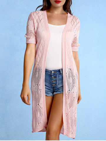 Sale Fashionable Collarless Pattern Knit Short Sleeves Cardigan For Women