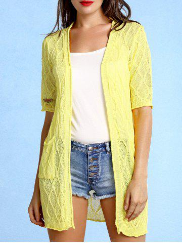 Chic Stylish Collarless Pattern Knit Short Sleeve Cardigan For Women YELLOW ONE SIZE(FIT SIZE XS TO M)