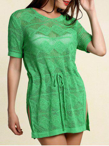 Latest Stylish Scoop Neck Short Sleeve Openwork Drawstring Sweater For Women GREEN ONE SIZE(FIT SIZE XS TO M)