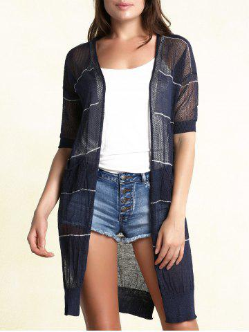 Chic Stylish Collarless Short Sleeve Striped See-Through Cardigan For Women