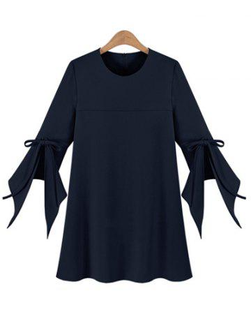 Online Chic Women's Plus Size Bell Sleeve Pure Color Dress CADETBLUE XL