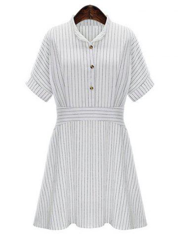 Outfit Chic Women's Plus Size Striped Shirt Collar Shirt Dress WHITE L