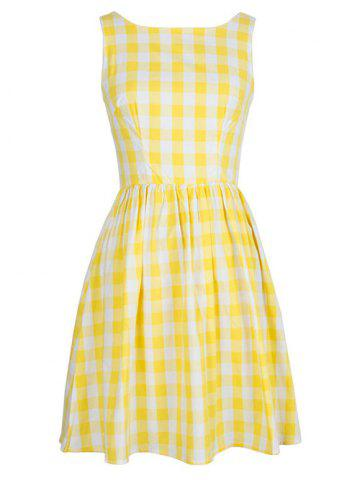 Latest Vintage Women's Plaid Jewel Neck Sleeveless Dress