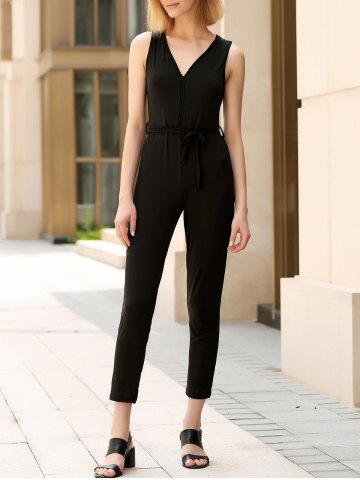 Affordable Trendy V-Neck Sleeveless Solid Color Backless Women's Jumpsuit