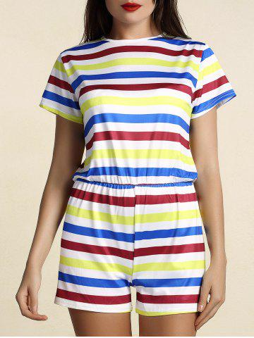 Short Sleeve Round Neck Striped Hit Color Women s Romper