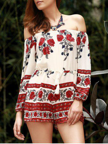 Off The Shoulder Floral Printed Romper