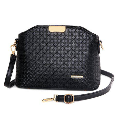 Discount Elegant Checked and Metal Design Crossbody Bag For Women