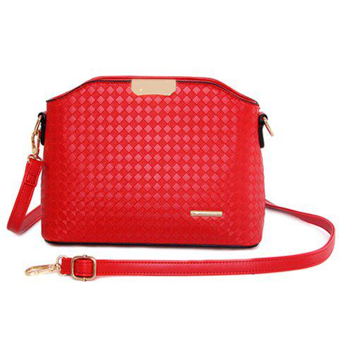 Unique Elegant Checked and Metal Design Crossbody Bag For Women -   Mobile