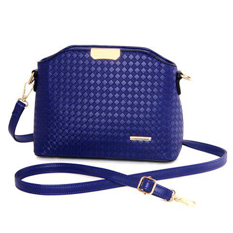 Elegant Checked and Metal Design Crossbody Bag For Women - Deep Blue