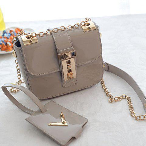 Shops Vintage Patent Leather and Chains Design Cossbody Bag For Women