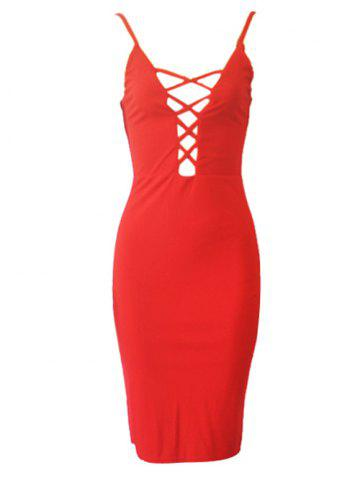 Online Alluring Spaghetti Strap Hollow Out Women's Dress
