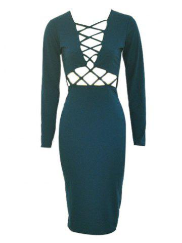 Cheap Long Sleeve Hollow Out Bodycon Dress with Long Sleeve