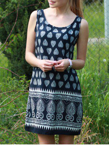 Latest Stylish Scoop Collar Tribal Print Sleeveless Dress For Women