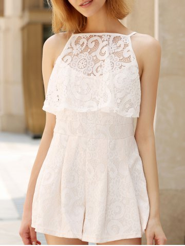 Lace Spliced Cut Out Pleated Romper