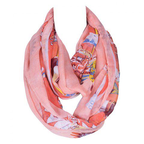 Outfit Chic American Indian Tribal Style Printed Voile Bib Scarf For Women LIGHT PINK