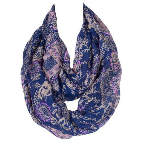 Chic Chic Flower and Paisley Pattern Deep Blue Voile Bib Scarf For Women
