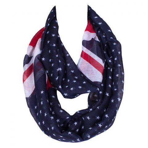 Latest Chic Union Flag and Five-Pointed Star Pattern Voile Bib Scarf For Women