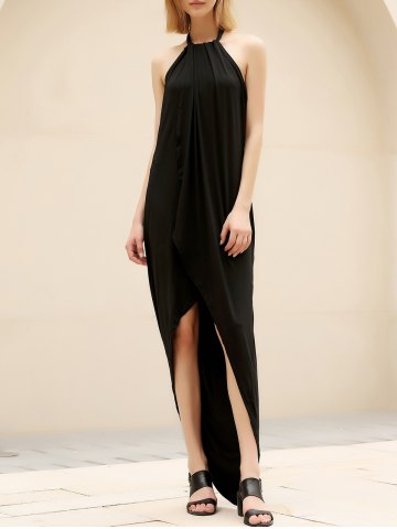 Outfit Chic Halter Asymmetrical Backless Solid Color Women's Dress
