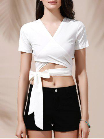Shops Sexy Plunging Neck Solid Color Wrap Cropped T-Shirt For Women