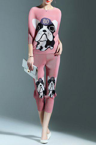 Fancy Ruched Puppy Print Blouse and Pencil Pants Twinset