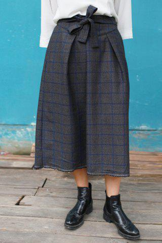 New Lace-Up Checked Midi Vintage Skirt