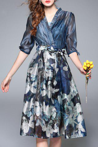 Latest Floral Printed High Waist Dress DEEP BLUE XL