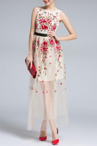 Hot Sleeveless Floral Embroidery Voile Maxi Dress